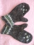 Ladies mittens, wet felted, wool