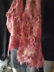 Rustic cob web scarf with felted-beaded flowers