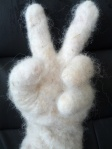 white felted gloves