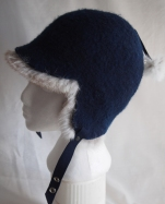 Ladies Felted Indigo Hat with genuine Rabbit Fur and raw silk lining
