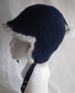Ladies Felted Indigo Hat with genuine Rabbit Fur and raw silk lining