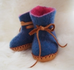 indigo Baby Booties with Pink Lining and leather soles and ties